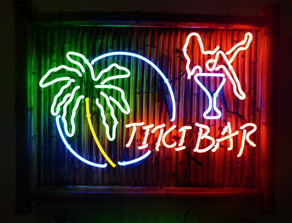 bamboo tiki bar neon signs with parrots and palm trees 1. Black Bedroom Furniture Sets. Home Design Ideas